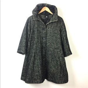H&M Black Oversize Herringbone Hooded Swing Coat 6